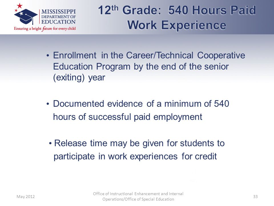 12th Grade: 540 Hours Paid Work Experience