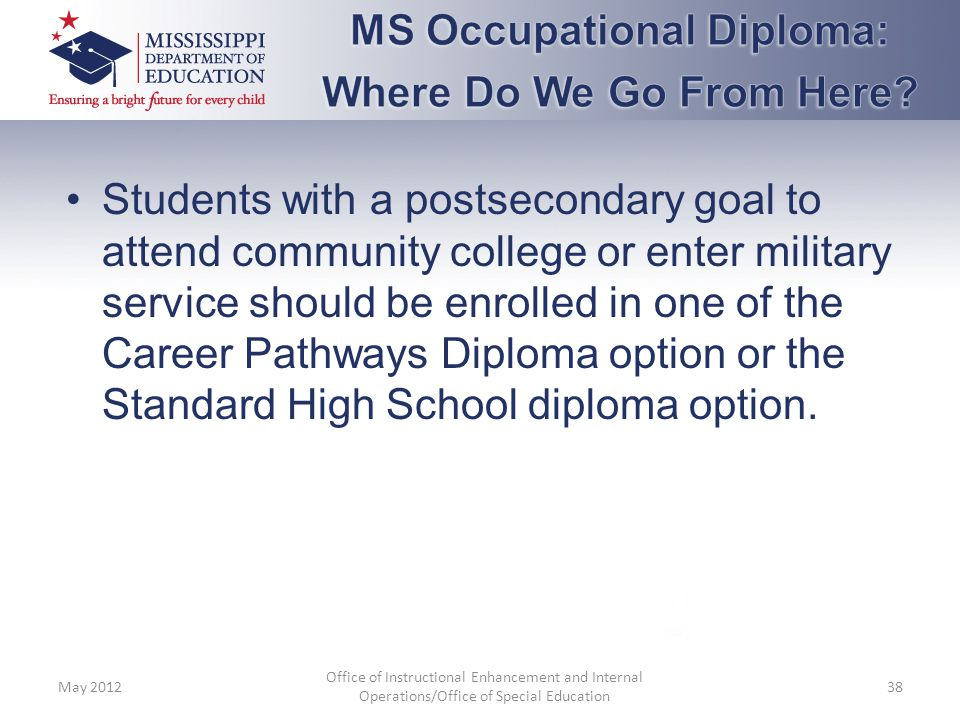 MS Occupational Diploma: Where Do We Go From Here