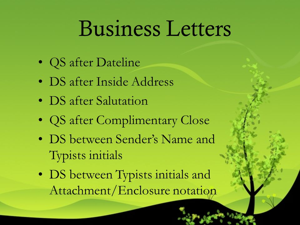 Business Letters QS after Dateline DS after Inside Address