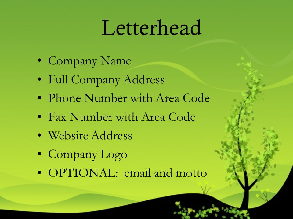 Letterhead Company Name Full Company Address