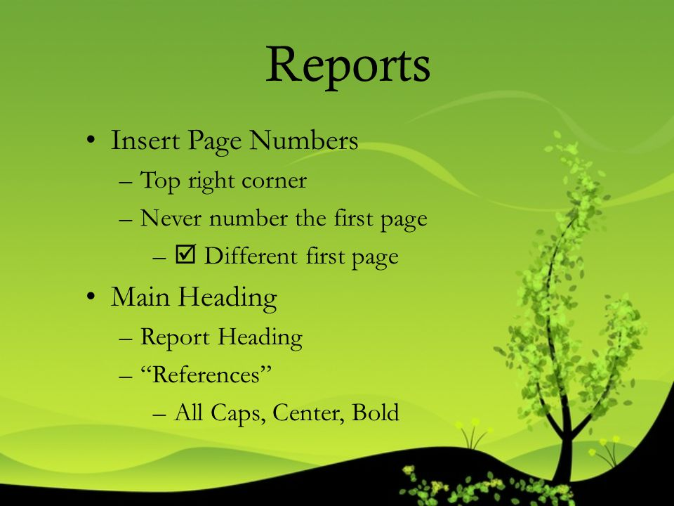 Reports Insert Page Numbers Main Heading Top right corner