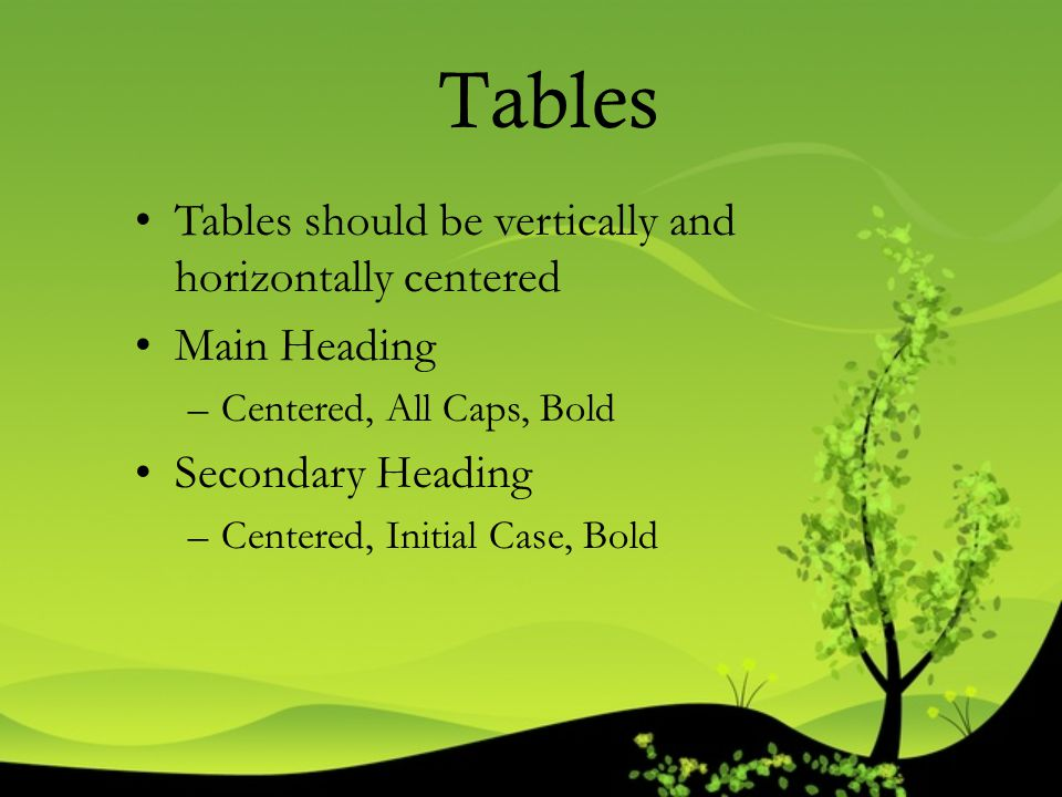 Tables Tables should be vertically and horizontally centered