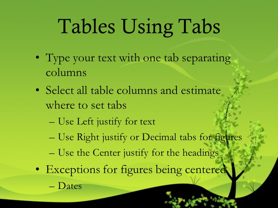 Tables Using Tabs Type your text with one tab separating columns