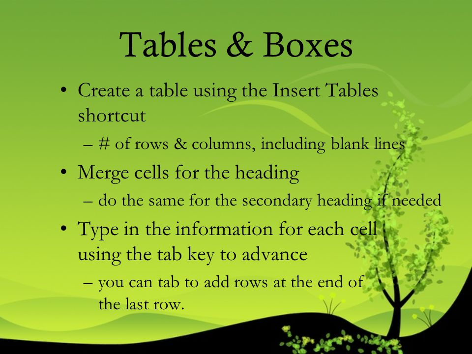 Tables & Boxes Create a table using the Insert Tables shortcut