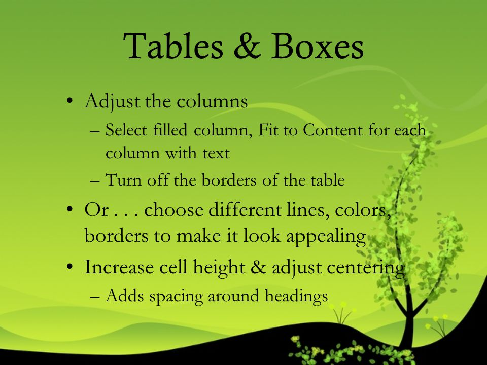 Tables & Boxes Adjust the columns
