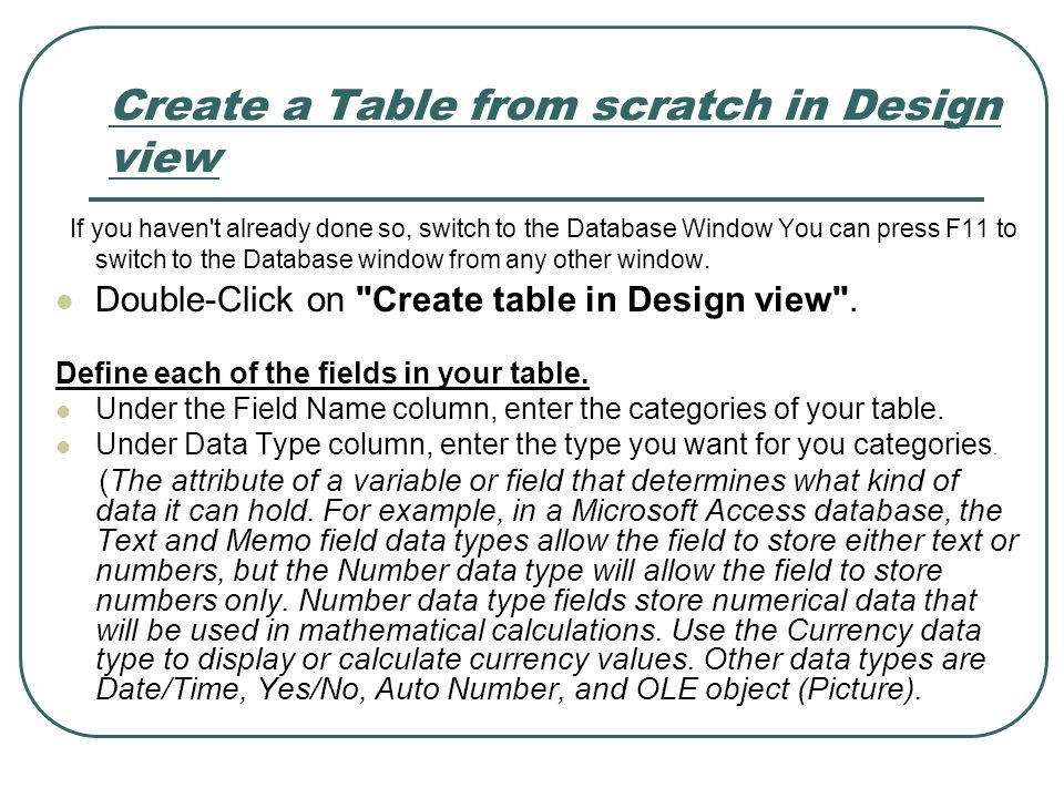 Create a Table from scratch in Design view