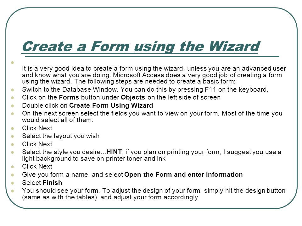 Create a Form using the Wizard