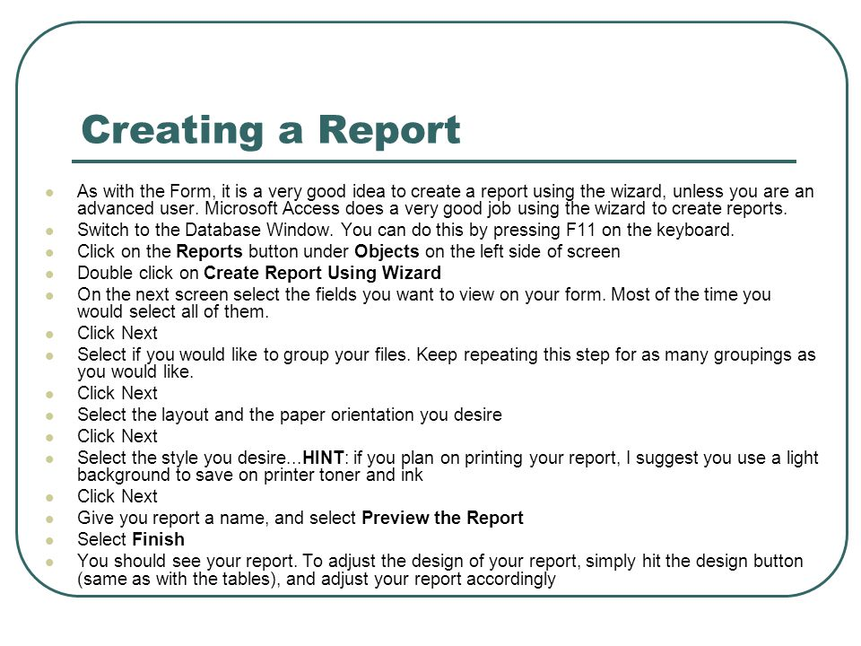 Creating a Report