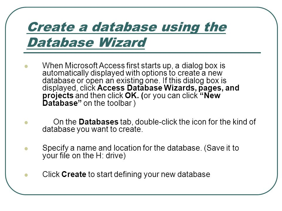 Create a database using the Database Wizard