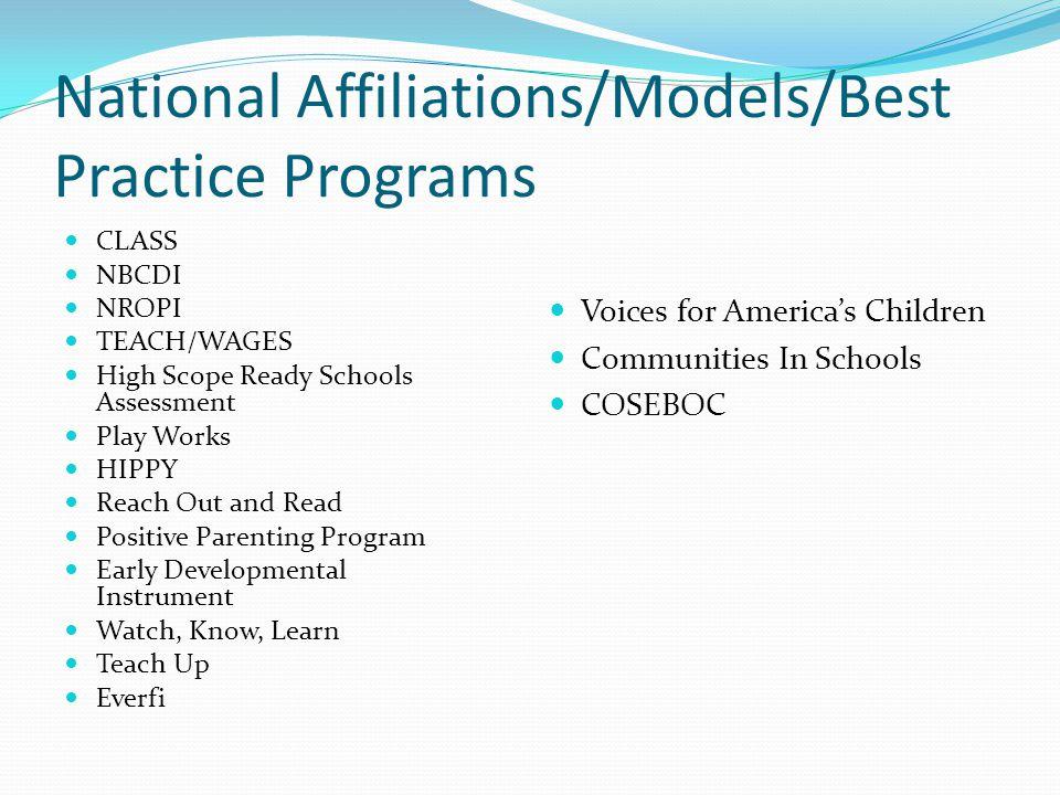 National Affiliations/Models/Best Practice Programs