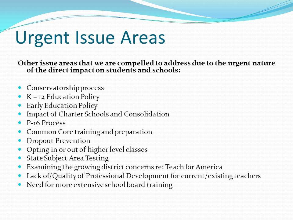 Urgent Issue Areas Other issue areas that we are compelled to address due to the urgent nature of the direct impact on students and schools: