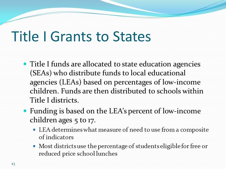 Title I Grants to States