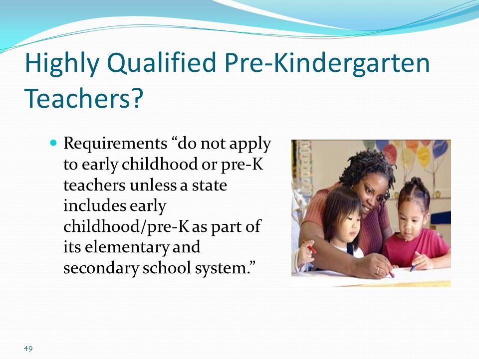 Highly Qualified Pre-Kindergarten Teachers