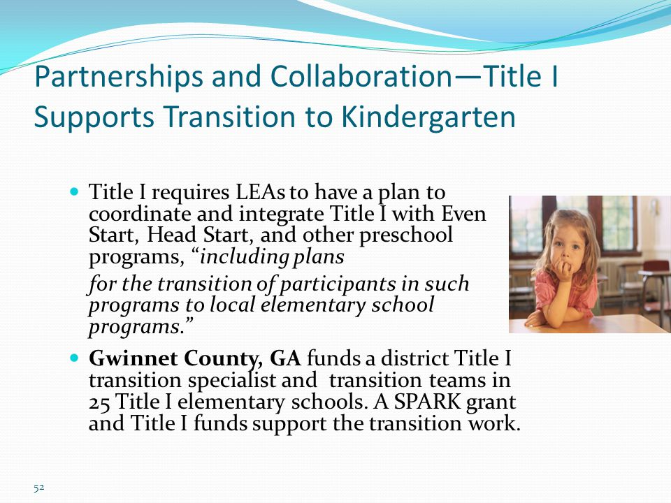 Partnerships and Collaboration—Title I Supports Transition to Kindergarten