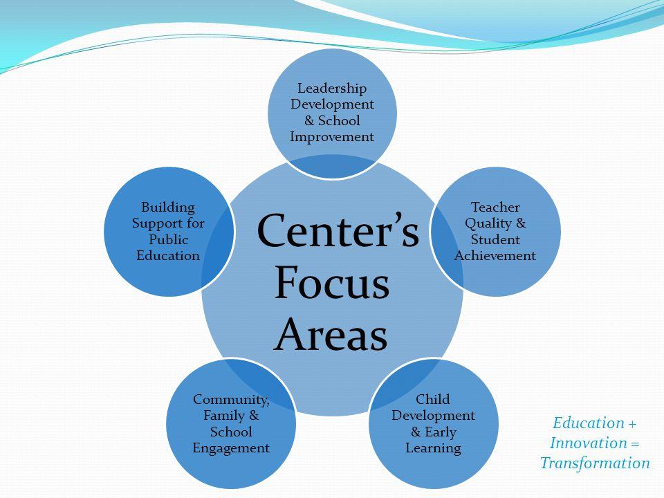 Center's Focus Areas Education + Innovation = Transformation