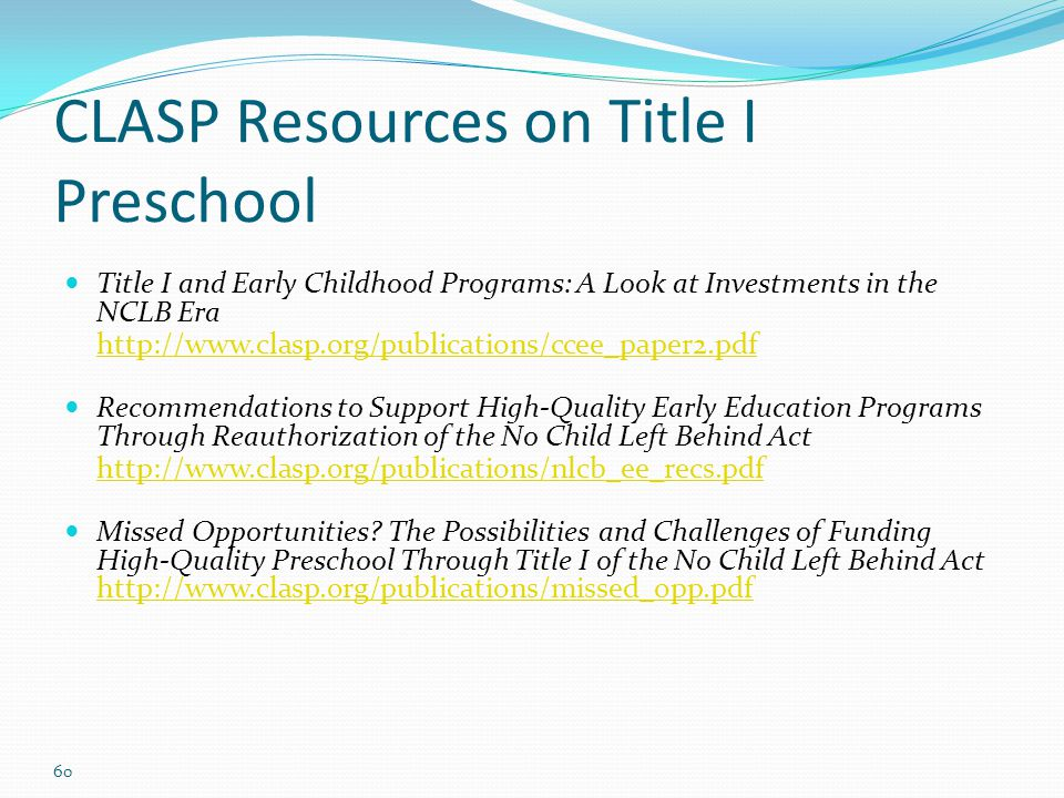 CLASP Resources on Title I Preschool