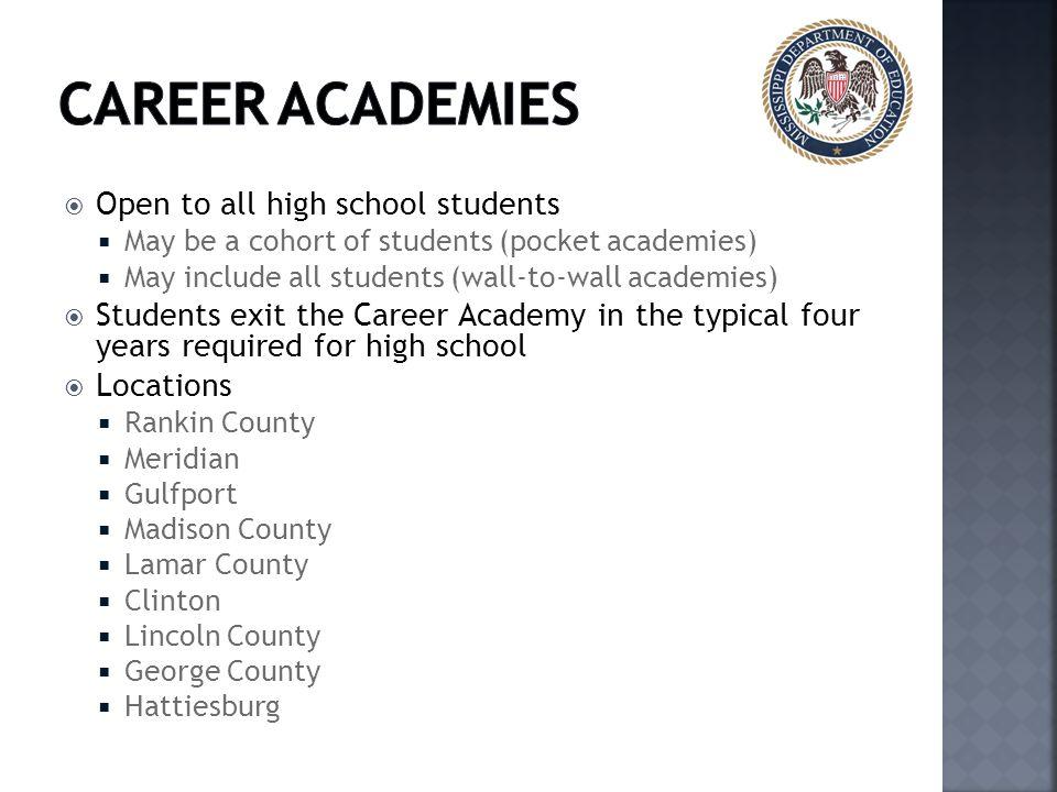 Career Academies Open to all high school students