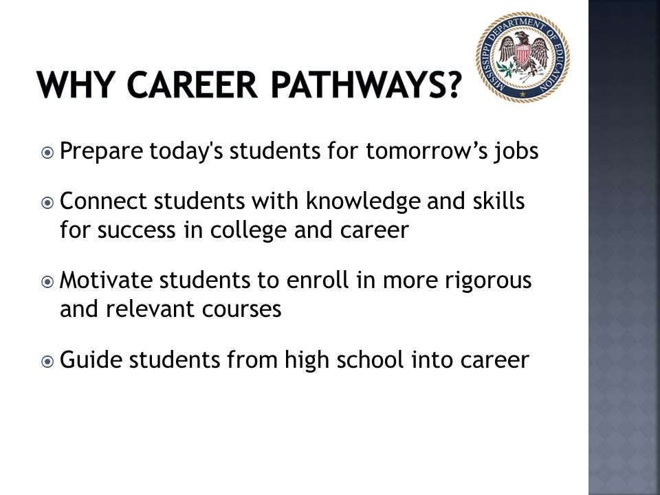 WHY Career pathwayS Prepare today s students for tomorrow's jobs