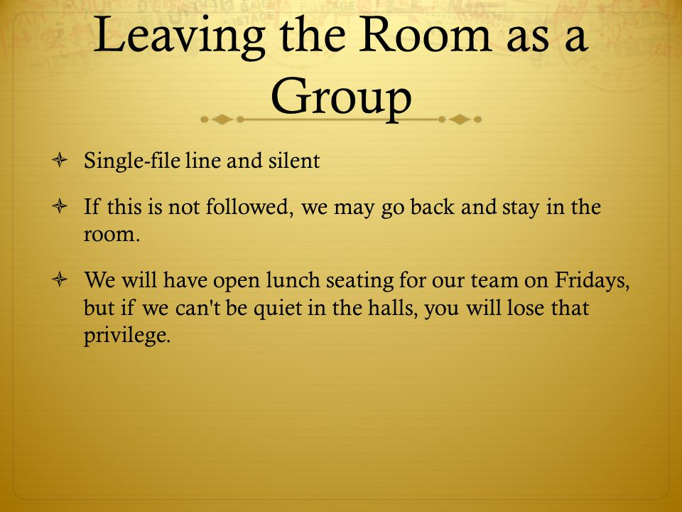 Leaving the Room as a Group