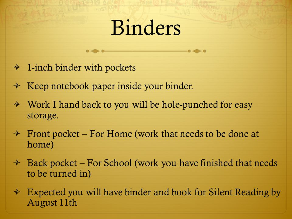 Binders 1-inch binder with pockets