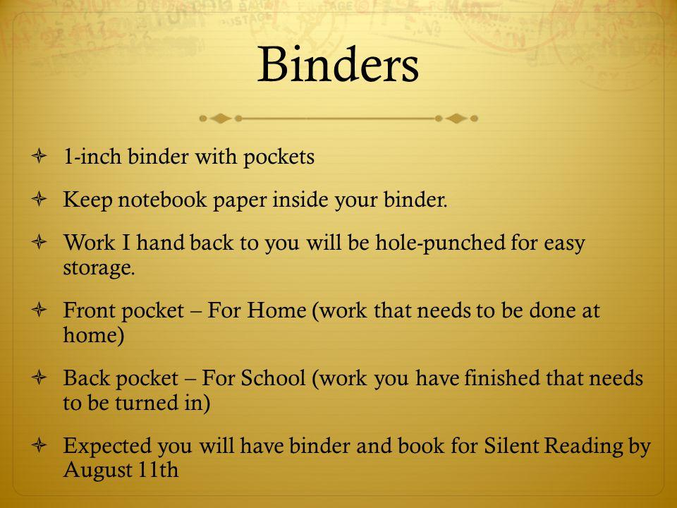Binders 1-inch binder with pockets