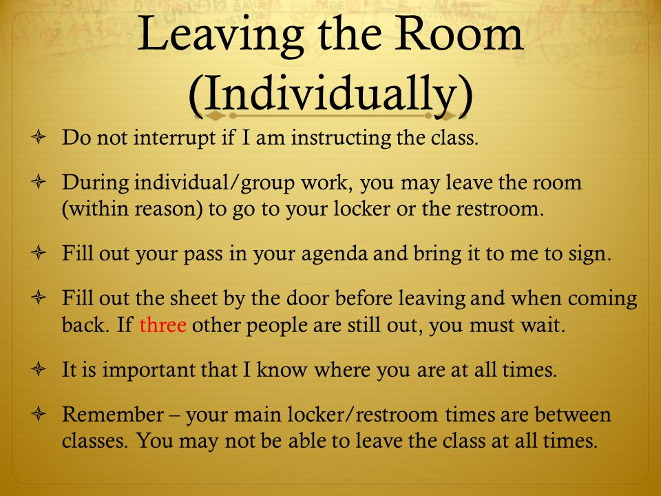 Leaving the Room (Individually)