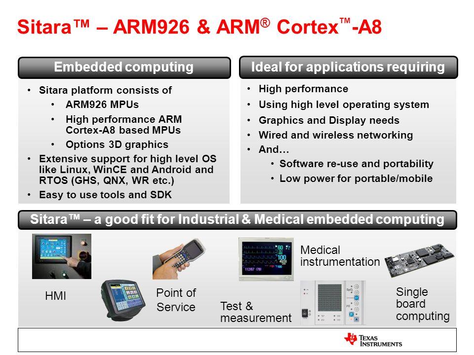 Sitara™ – ARM926 & ARM® Cortex™-A8