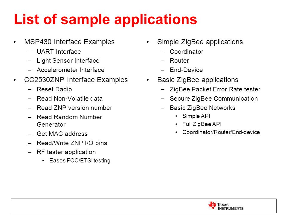 List of sample applications