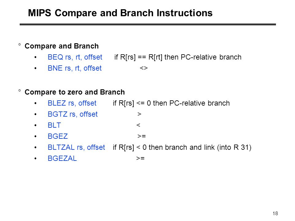 MIPS Compare and Branch Instructions