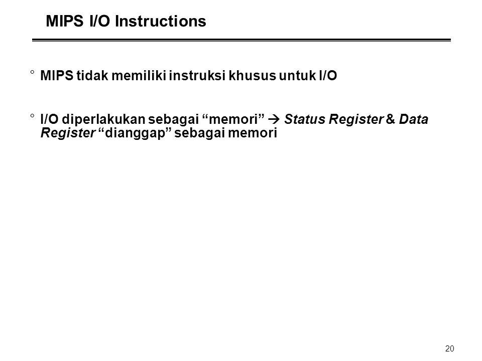 MIPS I/O Instructions MIPS tidak memiliki instruksi khusus untuk I/O