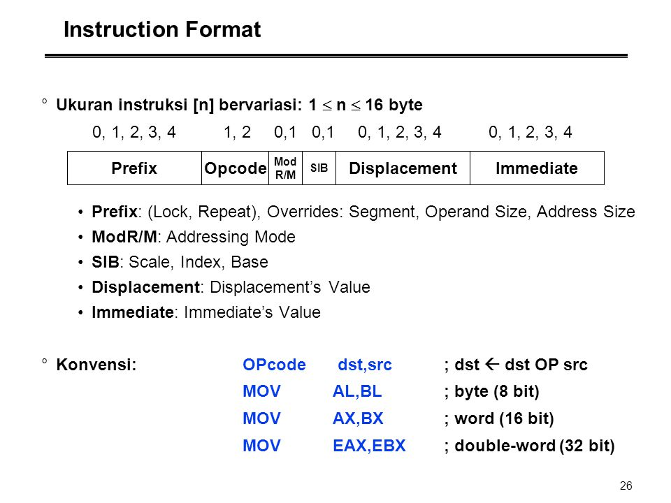 Instruction Format Ukuran instruksi [n] bervariasi: 1  n  16 byte