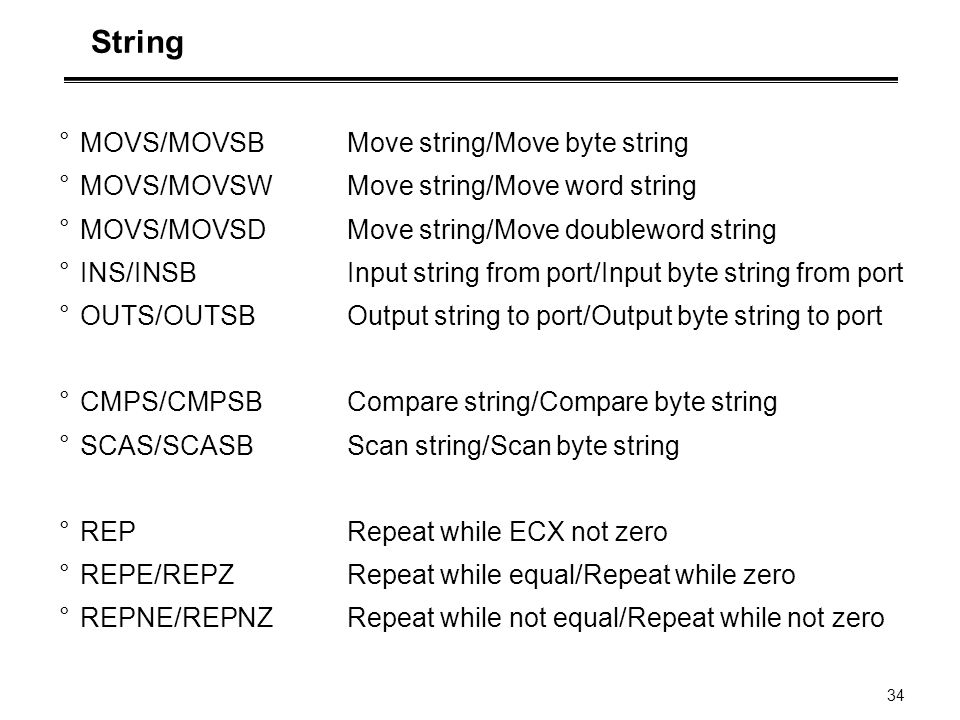 String MOVS/MOVSB Move string/Move byte string