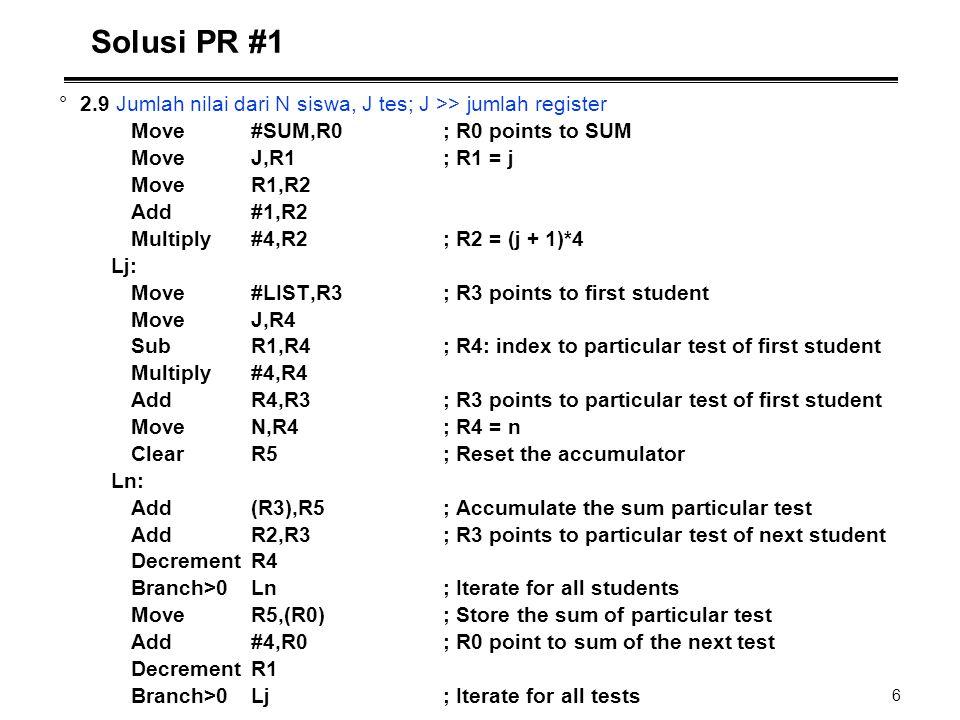 Solusi PR #1 2.9 Jumlah nilai dari N siswa, J tes; J >> jumlah register. Move #SUM,R0 ; R0 points to SUM.