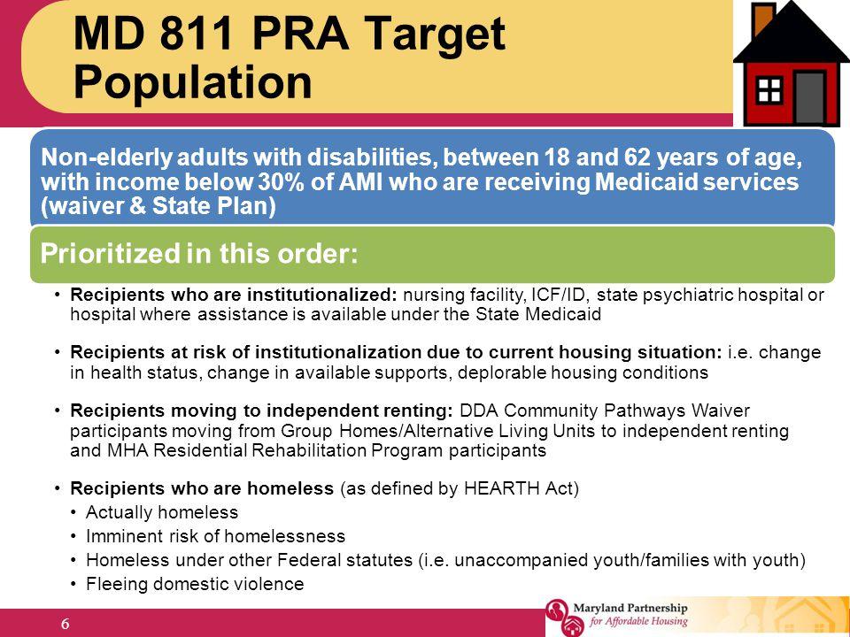 MD 811 PRA Target Population