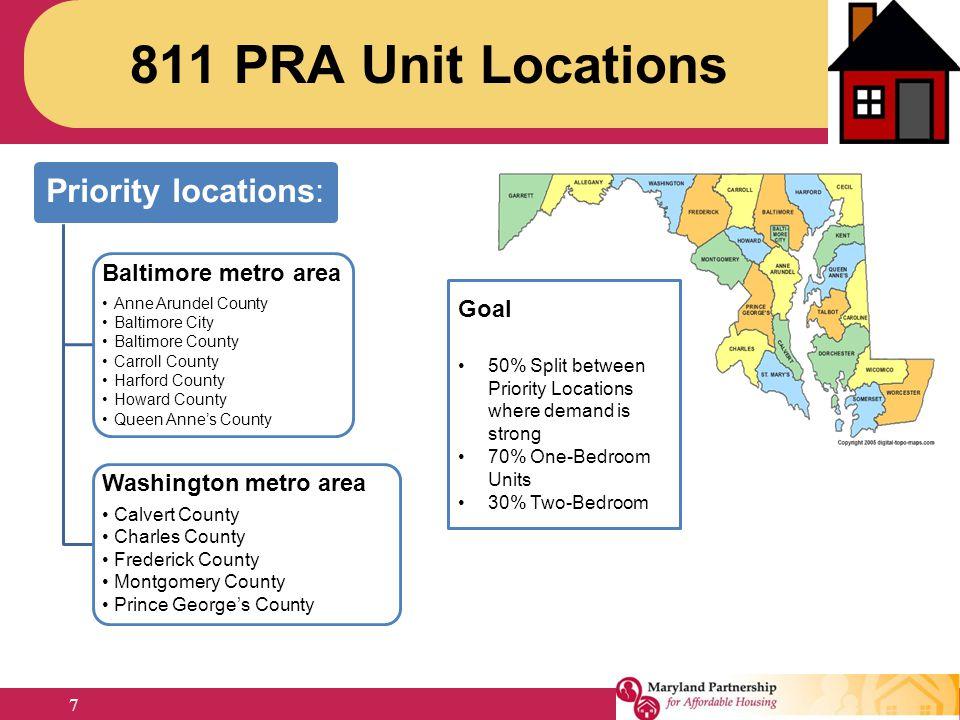 811 PRA Unit Locations Priority locations: Baltimore metro area Goal