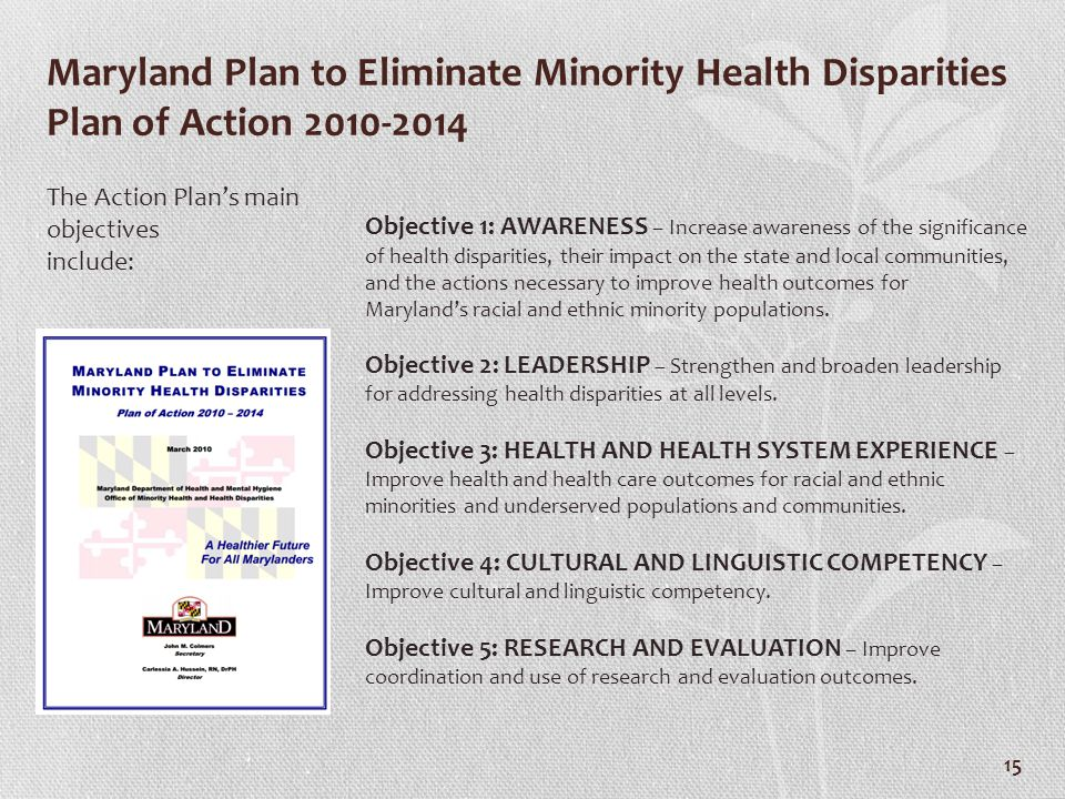 Maryland Plan to Eliminate Minority Health Disparities Plan of Action 2010-2014
