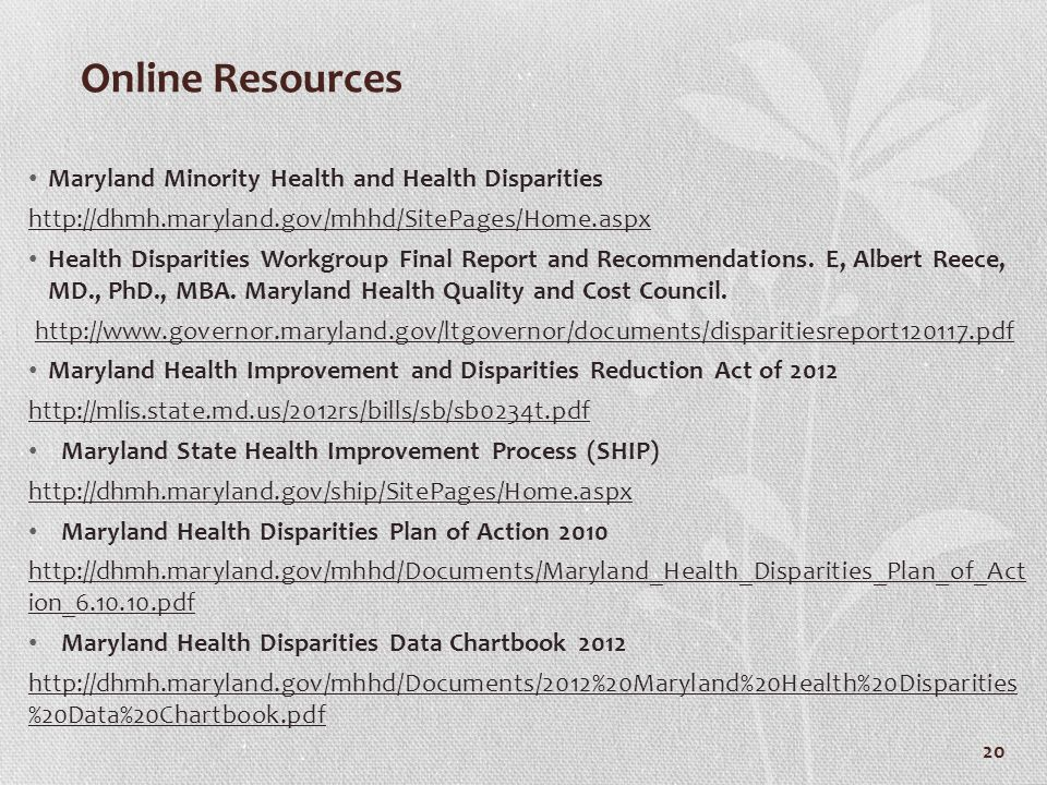 Online Resources Maryland Minority Health and Health Disparities