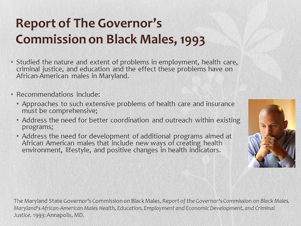 Report of The Governor's Commission on Black Males, 1993