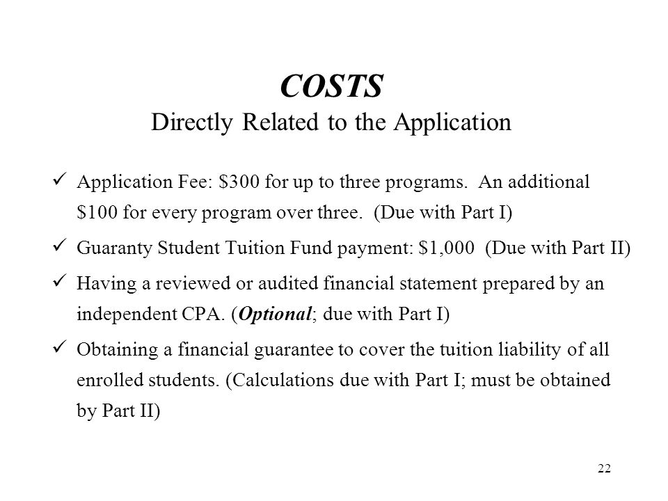 COSTS Directly Related to the Application