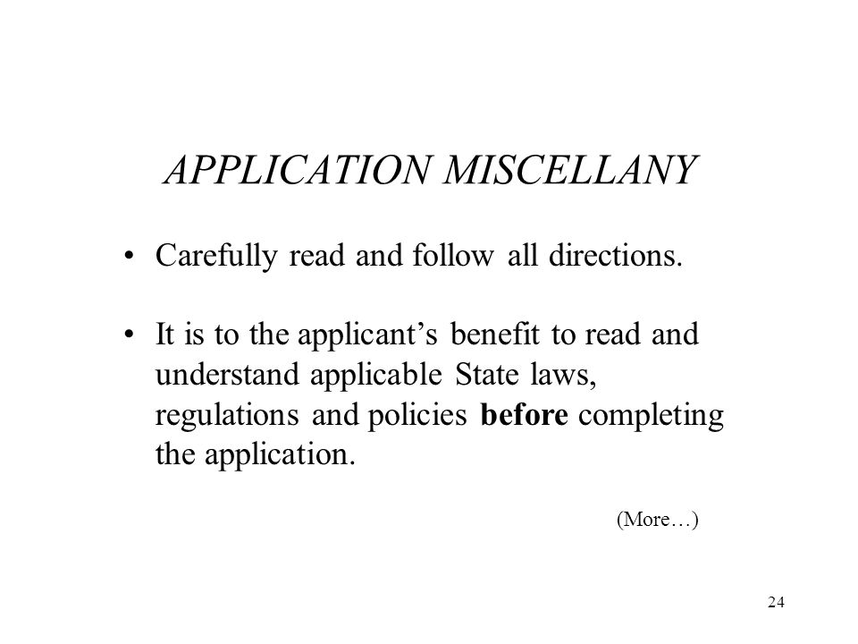 APPLICATION MISCELLANY