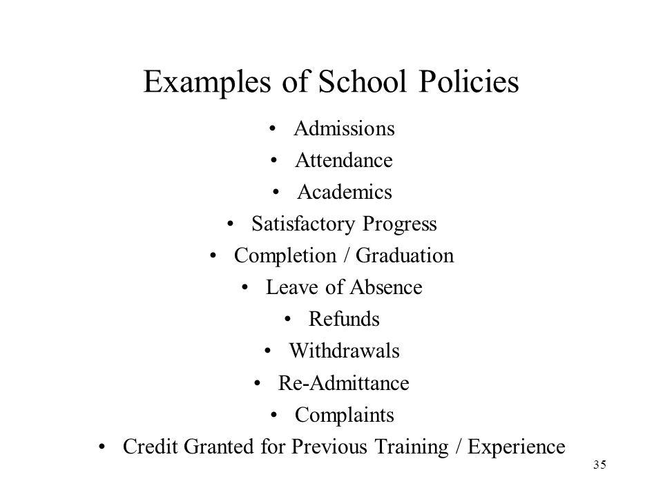 Examples of School Policies