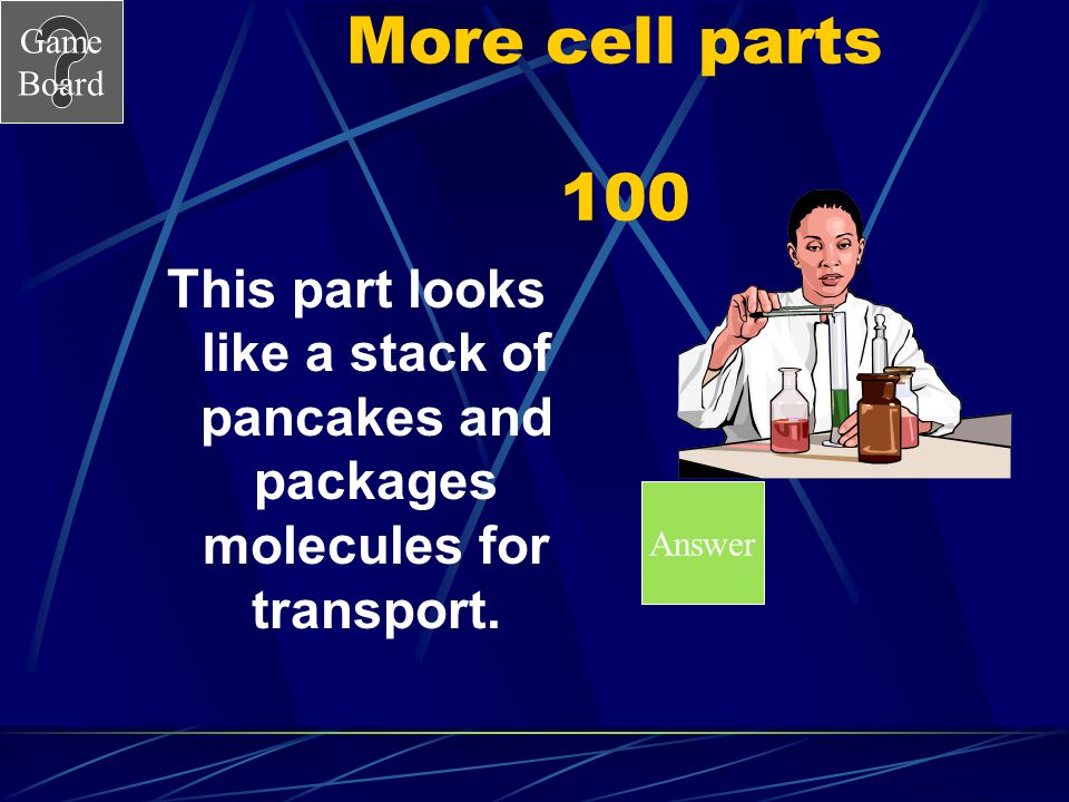 More cell parts 100 This part looks like a stack of pancakes and packages molecules for transport.