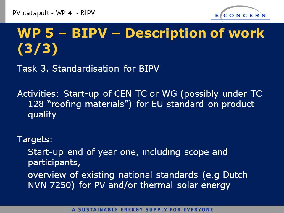 WP 5 – BIPV – Description of work (3/3)