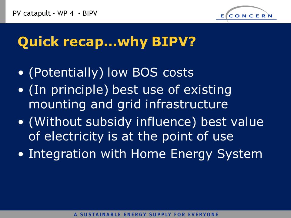 Quick recap…why BIPV (Potentially) low BOS costs