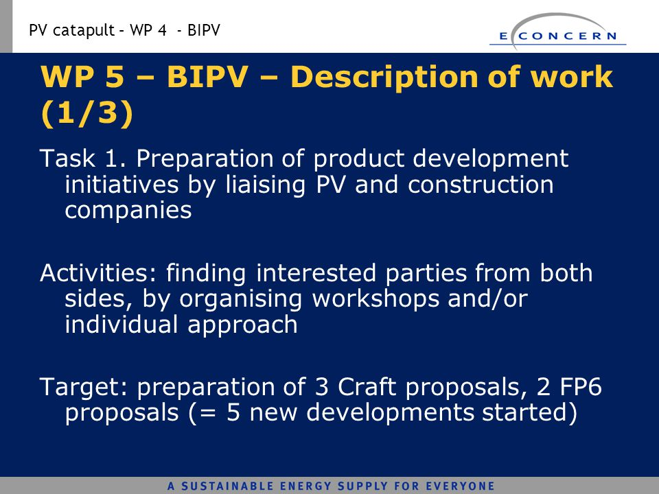 WP 5 – BIPV – Description of work (1/3)