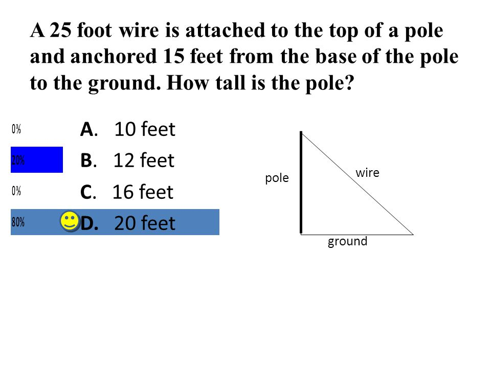 A 25 foot wire is attached to the top of a pole and anchored 15 feet from the base of the pole to the ground. How tall is the pole