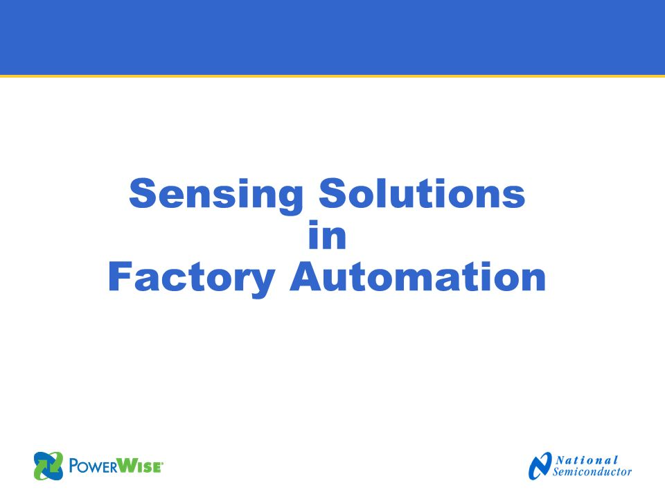 Sensing Solutions in Factory Automation