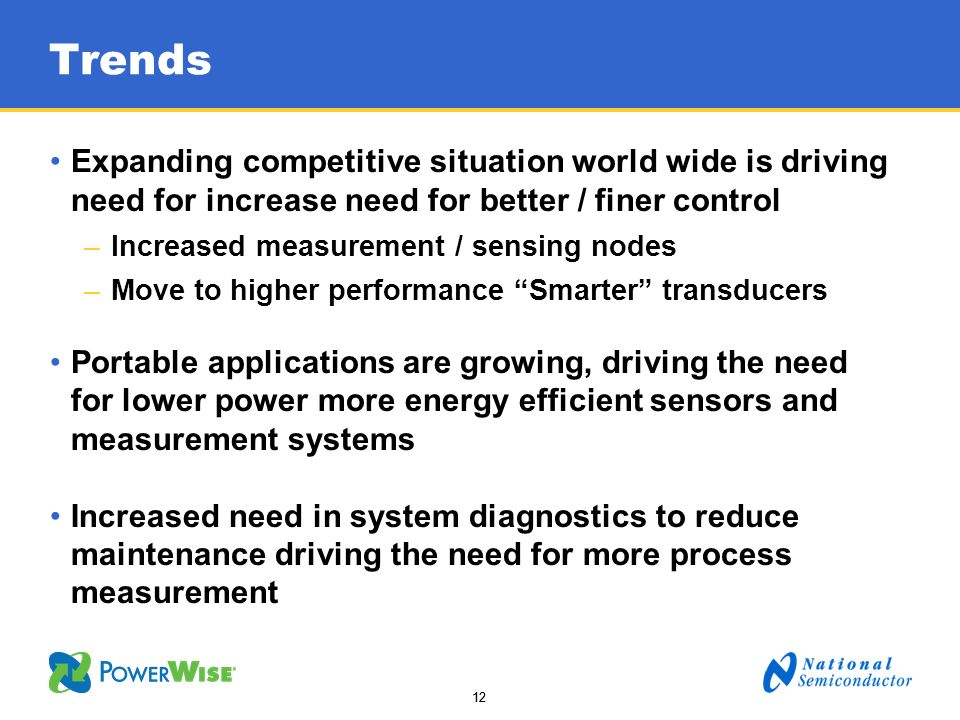 TrendsExpanding competitive situation world wide is driving need for increase need for better / finer control.