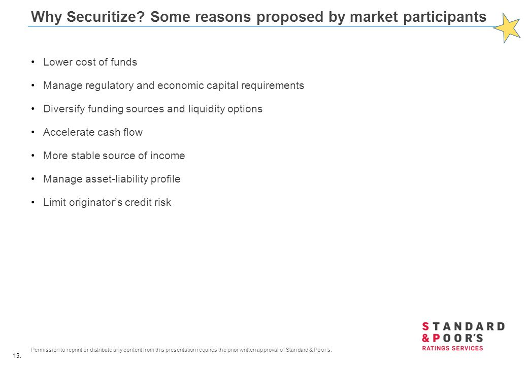 Why Securitize Some reasons proposed by market participants