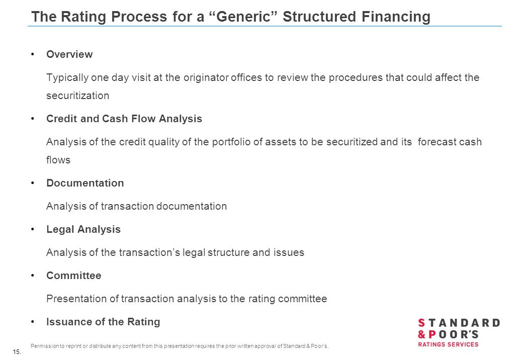 The Rating Process for a Generic Structured Financing